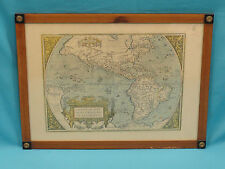 ANTIQUE ABRAHAM ORTELIUS MAP : AMERICAE SIVE NOVI OBRIS NOVA DESCRIPTIO *2 SIDED