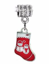 Red Snowman Christmas Stocking Dangle Bead for Silver European Charm Bracelets