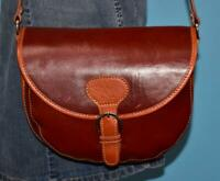 VERA PELLE MADE IN ITALY Brown Leather Shoulder Saddle Flap Cross-body Purse Bag