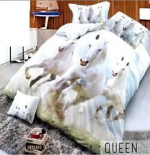 Celebrity Collection Queen Size 3D Bedding Set of 3 - White Horses Design