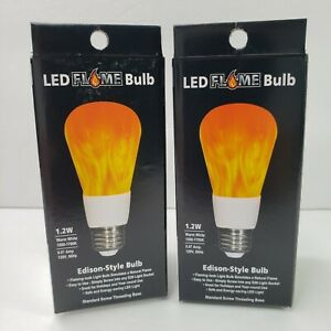 2 LED Flame Bulbs EZ Illuminations Rounded Edison Style Bulb 1.2W Flaming Fire