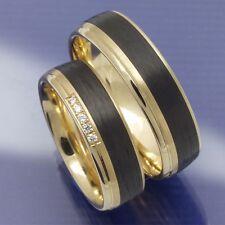 Hochzeitsringe | Eheringe | Trauringe aus 585 Apricotgold und Carbon PB042535