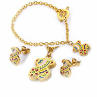 2019 Stainless Steel Bear Necklace Bracelet Earring Set Color Bear Jewelry Gift