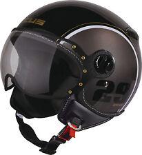 XS XSmall ZEUS 210C Demi Jet Helmet Open Face Visor Scooter Black Silver White