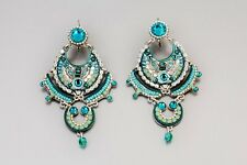 Turquoise lace evening earrings*Swarovski crystals & beads*Adaya Jewelry*