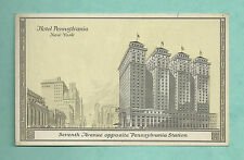 SUPERB C1920'S ADVERTISING POSTCARD FOR THE HOTEL PENNSYLVANIA NEW YORK USA