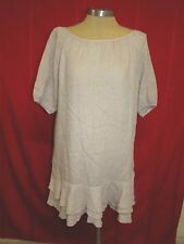 Gently Worn! 120% LINO Taupe Linen Short Sleeve Dress  EUR 40 US L