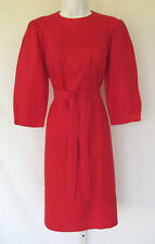 VINTAGE 1970s 80s JOANIE CHAR RED LINEN DRESS SIZE 6 BELT MADE IN HONG KONG