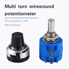 10K Ohm 3590S-2-103L Rotary Wirewound Precision Potentiometer Pot 10 Turns+Knob