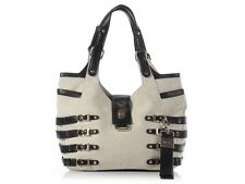 JIMMY CHOO Bree Canvas and Leather Bag ~ A fun mix of materials!