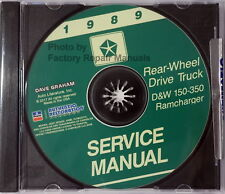 1989 Dodge D & W Pickup Truck, Ramcharger Factory Service Manual Shop Repair CD