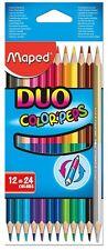 Helix Maped-Duo Matite Colorate 829600-Confezione da 12 Matite (24 colori)