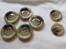 7  Button 4 hole Large Round Plastic Brown Marbled Replacement Sewing Craft