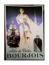 """Belle PLV  Cartonnée Publicitaire   """" SOIR de PARIS   """"  BOURJOIS  année 50/60"""