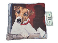 Jack Russell Terrier Dog Needlepoint Pillow Wool Embroidery Velvet Back Vintage