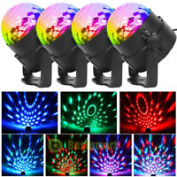 4RGB Disco Party Light Strobe LED DJ Ball Sound Activated Bulb Dance Lamp+Remote