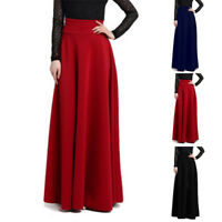 PLUS SIZE Women Long Gypsy High Waist Stretch Full Length Solid Color Maxi Skirt