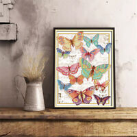 Stamped & Counted Cross Stitch Kit printed Butterfly 14CT Embroidery Craft