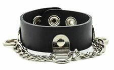 D Ring Chain Punk Rockers Leather Bracelet Gothic Bikers Skaters Sub Culture