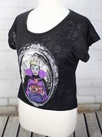 Snow White Evil Queen Crop Top Burnout T-Shirt Size M Disney Couture Store Black