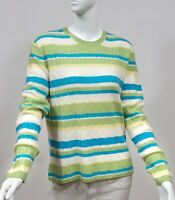 100% CASHMERE LONG SLEEVE SWEATER STRIPES NEW WITH TAGS BLUE GREEN LARGE