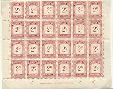 SEYCHELLES - 1951 2c POSTAGE DUE, IMPRINT BLOCK of 24 MNH