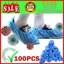 100Pcs Disposable Plastic Thick Shoe Cover Blue waterproof anti virus protective