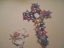 Tatted Cross Bookmark Variegated Pastel Get Well Gift Bible Tatting Dove Country
