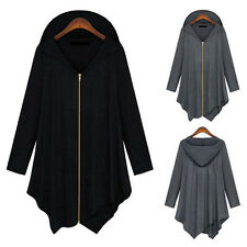 Mode Leichte Damen Jacke Übergangsjacke mit Kapuze unregelmäßig Mantel Parka