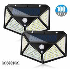 New listing 2 Pcs 100 Led Solar Pir Motion Sensor Wall Light Outdoor Garden Waterproof Lamp