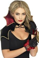 Ladies Sexy Vampire Cape Collar Gloves Halloween Fancy Dress Costume Outfit Kit