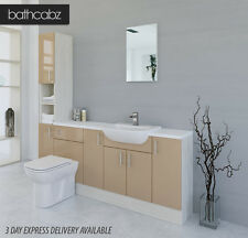 CAPPUCCINO / WHITE AVOLA BATHROOM FITTED FURNITURE 2000MM WITH TALL UNIT