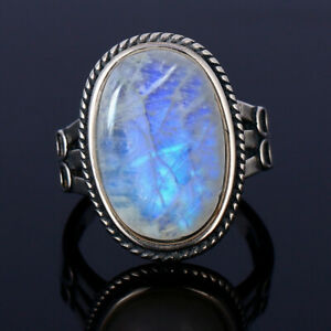 Vintage 925 Silver Oval Natural Rainbow Moonstone Wedding Antique Ring Wholesale