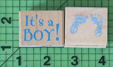Lot of 2 It's a Boy rubber stamps by Hero Arts and All Night Media