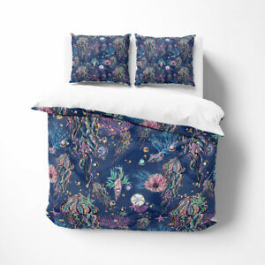 Blue Watercolor Sealife 3 pc Duvet Cover Set by FolkNFunky