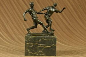 VINTAGE ART DECO BRONZE SCULPTURE STATUE SOCCER BALL CUP PLAYER MARBLE BASE ART