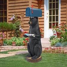 "41"" Scaled Upright Black Bear Going Postal Cabin Decor Newspaper Mailbox Post"