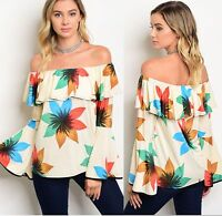 Ivory Floral Off Shoulder Ruffle Top Bell Sleeve Sz Small