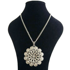 Large Antique Silver Flower Pendant on a Long Curb Chain Necklace Lagenlook