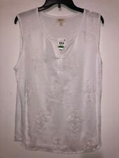 Women's Blouse Style & Co Bright White Sleeveless Scoop Neck Regular Size L NWT