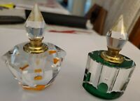 "2 Vintage Designs, Glass Perfume Bottle, 3.5"" Tall, Gift Collectible, chipped"