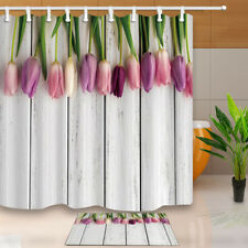 Happy Mother's Day Colorful Tulip Flower Shower Curtain Bathroom Fabric & 12hook
