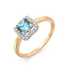 585 14K Russian Rose Red Gold Aqua Blue Topaz Ring Size N -17 gift boxed