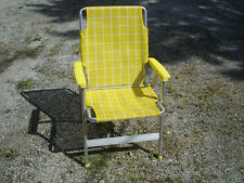 Vintage Folding Aluminum Folding Lawn Chair Yellow & White Patio Beach Camping