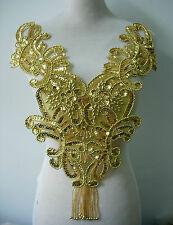 BD10 Fringed Bodice Sequin Beaded Applique Gold Floral Motif for Dancewear/Tutu