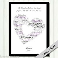 Grandma Gift Keepsake Home Poem PRINT ONLY Personalised Gift for Grandmother