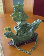 "ESTATE FIND  Chinese Green Jade Dragon-Boat Ship Statue 12"" X 14"""