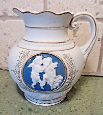 """5"""" Cherub Cupid Decorative PITCHER by TILSO Japan Porcelain White Blue Porcelain"""