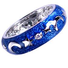 DESIGNER REPLICA *MOON_STARS*_BLUE ENAMEL_BAND RING_SZ-7__925 STERLING SILVER