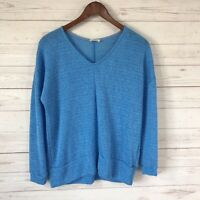 143 Story by Line Up Long Sleeve V-Neck Loose Knit Sweater Size Medium Blue
